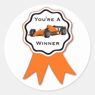 Autocollant orange de ruban de voiture de course