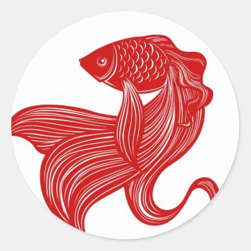 Autocollant original de poisson rouge de zazzle for Acheter poisson rouge laval