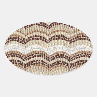 Autocollant ovale mat de mosaïque beige