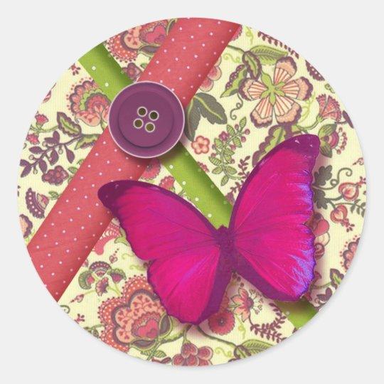 autocollant papillon liberty pois rose vert chic