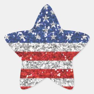 Autocollant patriotique d'étoile de scintillement
