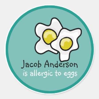 Autocollant personnalisable d'allergie d'oeufs