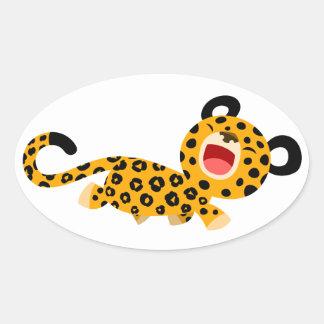 Autocollant plaisant de léopard de bande dessinée