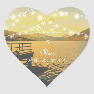 Autocollant romantique de coeur de mariage de lac