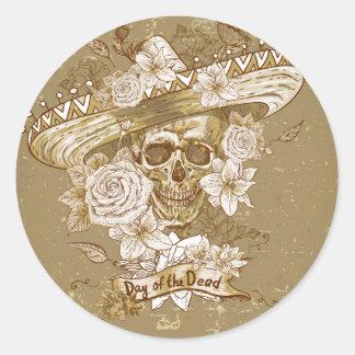 Autocollant rond classique de crâne floral vintage