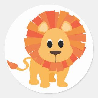 Autocollant rond classique de lion doux