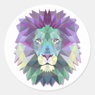 Autocollant rond classique de lion géométrique