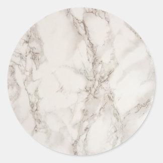 Autocollant rond classique en pierre de marbre