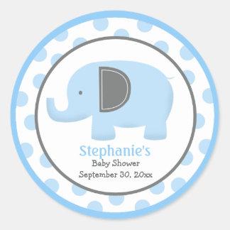 Autocollant rond d éléphant bleu et gris de mod