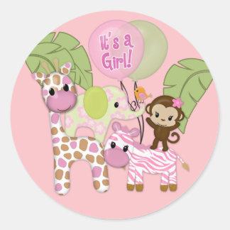 Autocollant rond de baby shower de safari de jungl