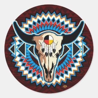 Autocollant rond de crâne de Natif américain