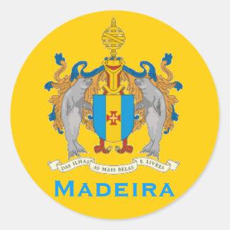 Autocollant rond de drapeau de la Madère