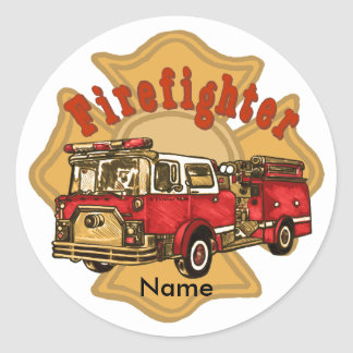Autocollant rond de Firetruck de sapeur-pompier