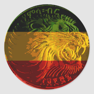 Autocollant rond de lion éthiopien de Rasta