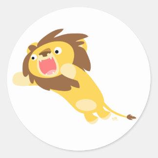 Autocollant rond de lion très affamé de bande