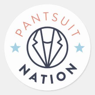 Autocollant rond de nation de Pantsuit, blanc