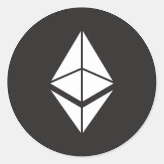 Autocollant rond de pièce de monnaie d'Ethereum