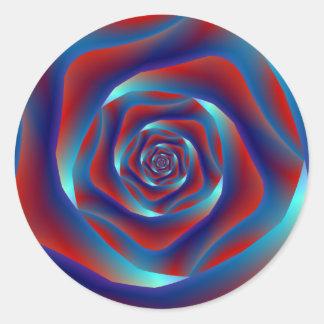 Autocollant rond de rouge et de rose de spirale de