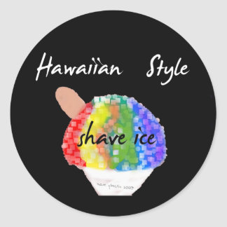 Autocollant rond de style de glace hawaïenne de