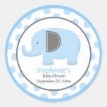 Autocollant rond d'éléphant bleu et gris de mod