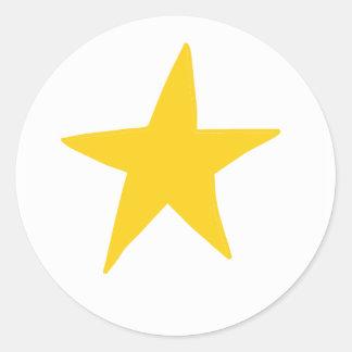 Autocollant rond d'étoile simple jaune