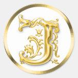 Autocollant rond initial de J en or