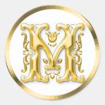 Autocollant rond initial de M en or