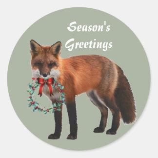 Autocollant rond rustique de Noël de Fox, brillant