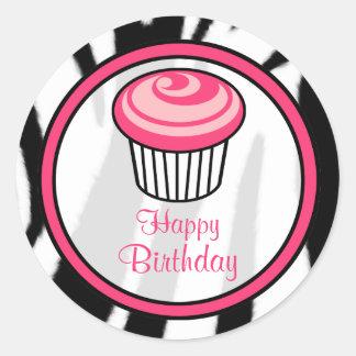 Autocollant rose d anniversaire de petit gâteau -