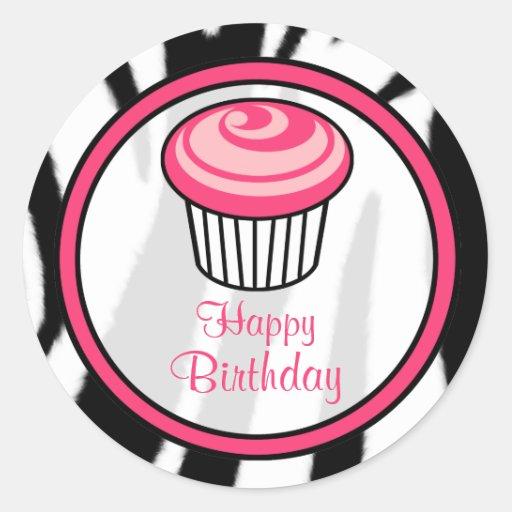Autocollant rose d'anniversaire de petit gâteau -