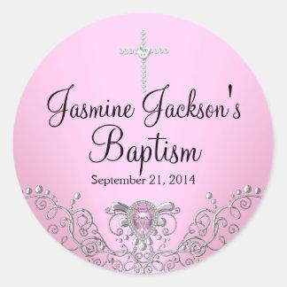 Autocollant rose de baptême de bijou d'étincelle