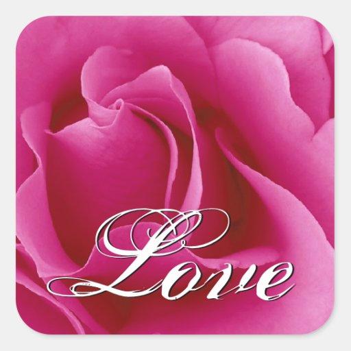 Autocollant rose de carré de rose de mariage
