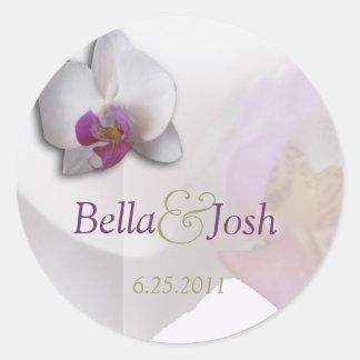 Autocollant rose de mariage d'orchidée