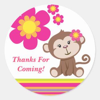 Autocollant (rose) de Merci de fille de singe