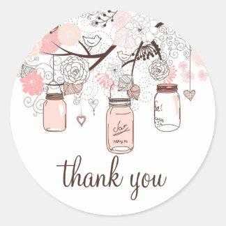 Autocollant rose de Merci de pots et