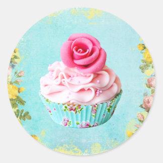 Autocollant rose de petit gâteau