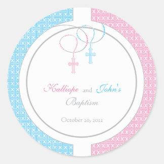 Autocollant rose et bleu de faveur de baptême