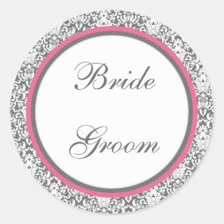Autocollant (rose) gris de mariage de damassé