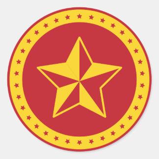 Autocollant rouge communiste d'étoile de cercle