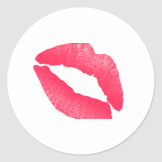 Autocollant rouge d'aquarelle de baiser de rouge à