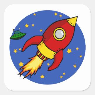 Autocollant rouge de carré de jaune de Rocket