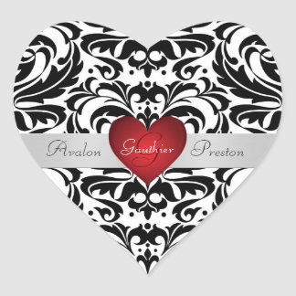 Autocollant rouge de mariage de coeur de damassé