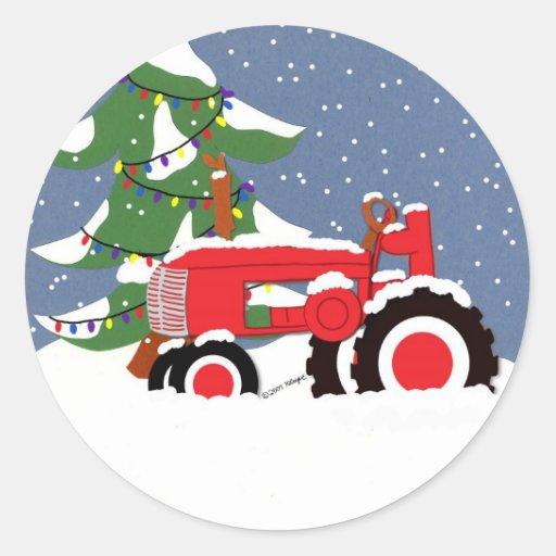 Autocollant rouge de Noël de phoque d'enveloppe de