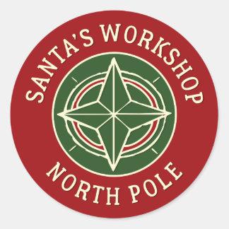 Autocollant rouge vintage de Pôle Nord de