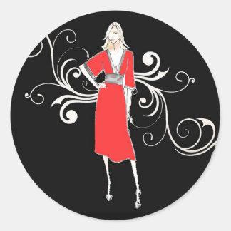 Autocollant rouge vintage de robe