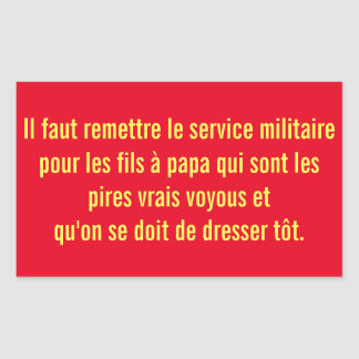 autocollant service militaire