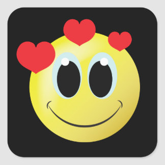 Autocollant souriant de maison d'amour de visage