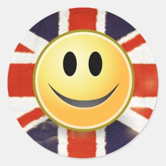Autocollant souriant de visage de drapeau de la