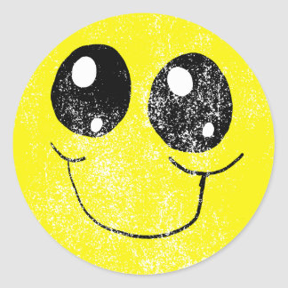 Autocollant souriant vintage de visage
