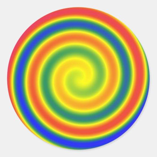 Autocollant spirale arc-en-ciel      (x20)
